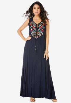Embroidered Sleeveless Crinkle Dress,