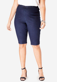 Pull-On Stretch Denim Bermuda Short by Denim 24/7®, INDIGO WASH
