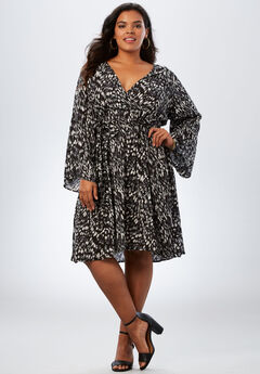 Bell-Sleeve Wrap Dress in Crinkle, BLACK GRAPHIC ANIMAL