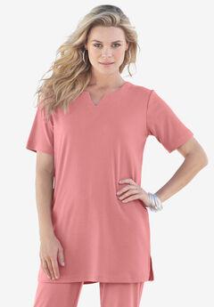 Notch-Neck Soft Knit Tunic, DESERT ROSE