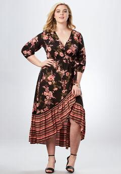 High-Low Wrap Dress, BLACK ROMANTIC FLORAL, hi-res