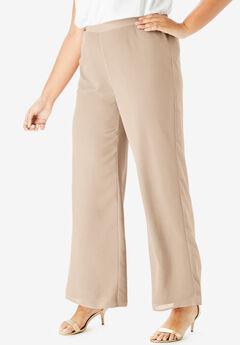 Georgette Wide-Leg Dress Pant, SPARKLING CHAMPAGNE