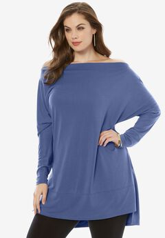 Dolman-Sleeve Draped Tunic, DARK BLUE, hi-res
