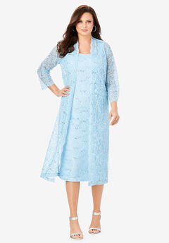 Lace & Sequin Jacket Dress Set, POWDER BLUE