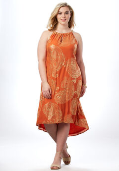 High-Low Paisley Dress with Chain Neckline, ORANGE EXPLODED PAISLEY, hi-res