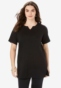 Notch-Neck Soft Knit Tunic, BLACK