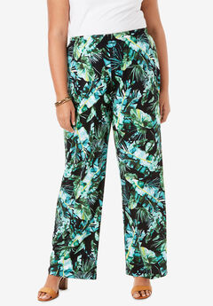 Wide-Leg Pant, TROPICAL LEAVES
