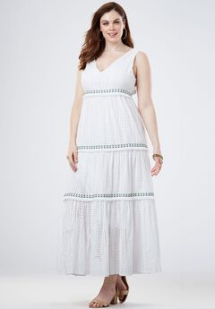 V-Neck Tiered Maxi Dress, WHITE, hi-res