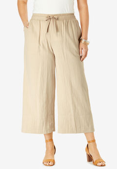 Gauze Wide-Leg Crop Pant,