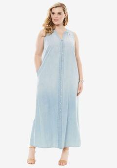 Button Front Denim Dress, BLEACH BLUE, hi-res