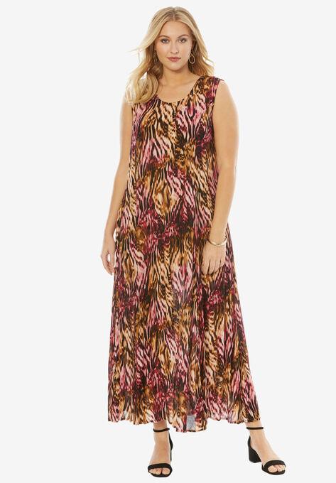 eb0fb598b A-Line Crinkle Maxi Dress| Plus Size Dresses | Roaman's
