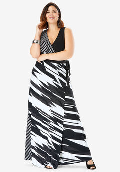 Sleeveless Wrap Dress with Tie Waist, BLACK WHITE GEO