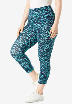 Essential Stretch Capri Legging, AQUA ANIMAL PRINT