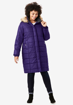 Mid-Length Quilted Parka with Hood, MIDNIGHT VIOLET
