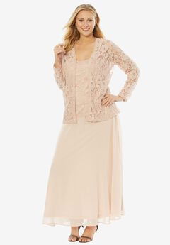 Beaded Lace Jacket Dress, PALE BLUSH, hi-res