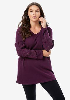Flower Appliqué Sweatshirt,