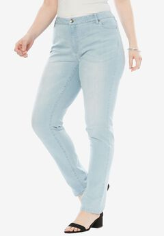 Straight Leg Jean with Invisible Stretch® by Denim 24/7®, BLEACH SANDED