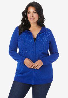 Metallic Sequin Cardigan, VIVID BLUE SEQUIN OMBRE