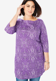 Boatneck Ultimate Tunic with Side Slits, PURPLE FLORAL MEDALLION