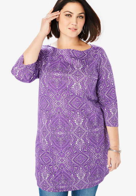 9dbc3ff9b53 Boatneck Ultimate Tunic with Side Slits| Plus Size Tees & Knit Tops ...