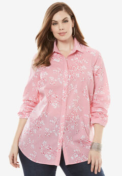 The Kate Shirt, PINK FLORAL STRIPE, hi-res