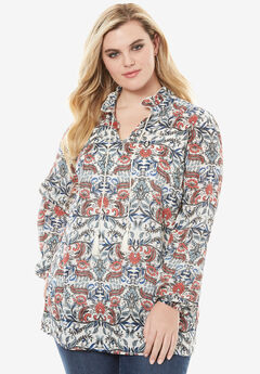 Neck-Tie Shirt with Ruffle Sleeves, MULTI PAISLEY PRINT, hi-res