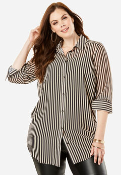 Georgette Tunic, SANDY BEIGE STRIPE
