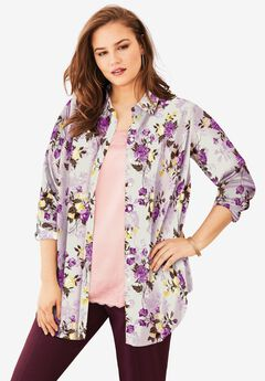 Georgette Tunic, OATMEAL PAINTED FLORAL