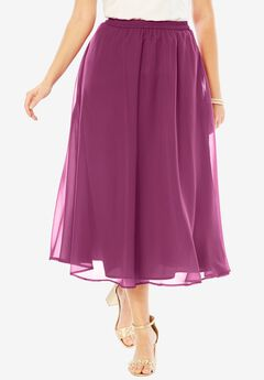 Long Georgette Skirt, RUBY BERRY, hi-res
