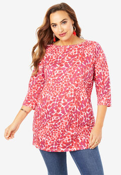 Boatneck Ultimate Tunic with Side Slits, PINK TEXTURED ANIMAL