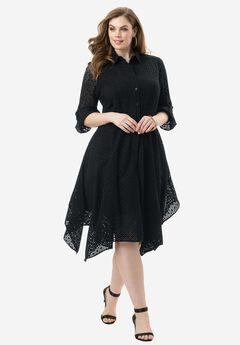 Eyelet Shirtdress, BLACK, hi-res