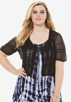 Cropped Pointelle Cardigan, BLACK, hi-res