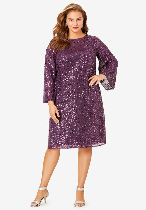 Beaded Dress with Bell Sleeves