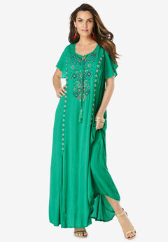 A-Line Embroidered Crinkle Maxi,