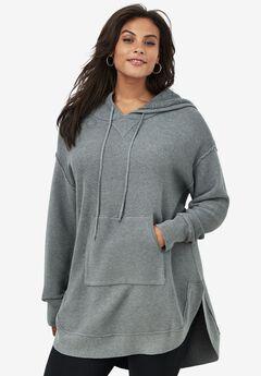 Hooded Sherpa Lined Sweater Tunic, MEDIUM HEATHER GREY