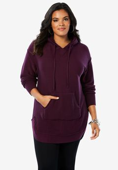 Hooded Sherpa Lined Sweater Tunic,