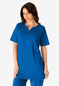 Notch-Neck Soft Knit Tunic, VIVID BLUE