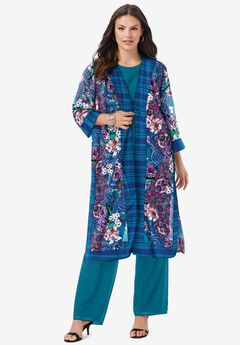 Three-Piece Duster & Pant Suit,