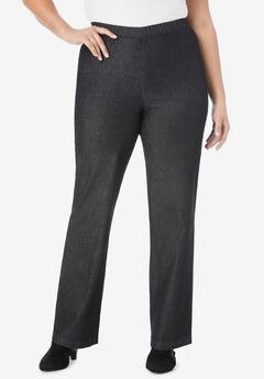 Wide-Leg Pull-On Stretch Jean by Denim 24/7®, BLACK DENIM