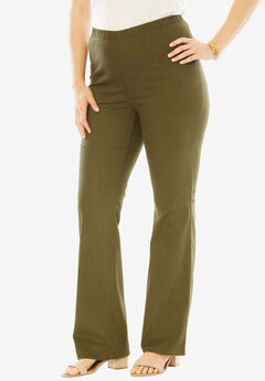 Bootcut Pull-On Stretch Jean by Denim 24/7®, DARK OLIVE GREEN