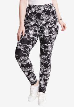 Print Leggings, BLACK ABSTRACT FLORAL, hi-res