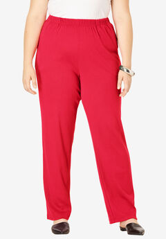 Straight-Leg Soft Knit Pant, VIVID RED