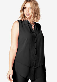 Felicity Tiered Sleeveless Blouse, BLACK