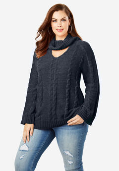 Cowlneck Sweater with Bell Sleeves,