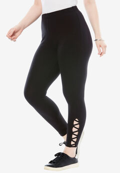 Stretch Crop Lattice Legging, BLACK