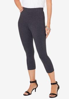 Essential Stretch Capri Legging, HEATHER CHARCOAL