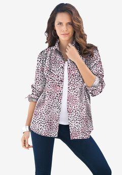 Long-Sleeve Kate Big Shirt, PINK ANIMAL
