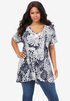 Stitched-Ribbon V-Neck Tunic,