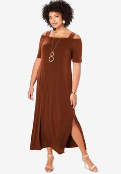 Ultra Smooth Cold-Shoulder Maxi Dress, HONEY BROWN