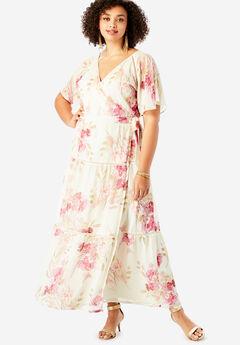 Surplice Maxi Dress in Crinkle,